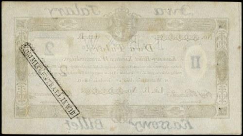 bilet kasowy, 2 talary 1.10.1810, litera B, numeracja 8...