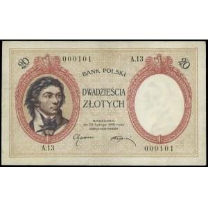 20 złotych 28.02.1919, seria A.13, numeracja 000101, Lu...