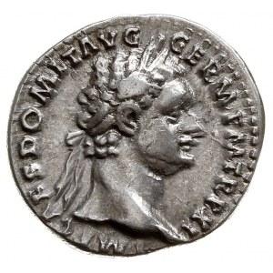 Domicjan 81-96, denar 92, Rzym, Aw: Głowa w prawo, IMP ...