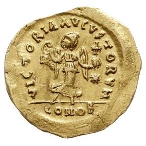 Justynian I 527-565, tremissis, Konstantynopol, Aw: Pop...