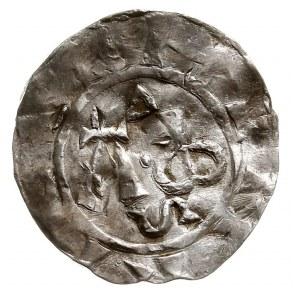 Deventer, Henryk II król (1002-14), denar, Aw: Monogram...