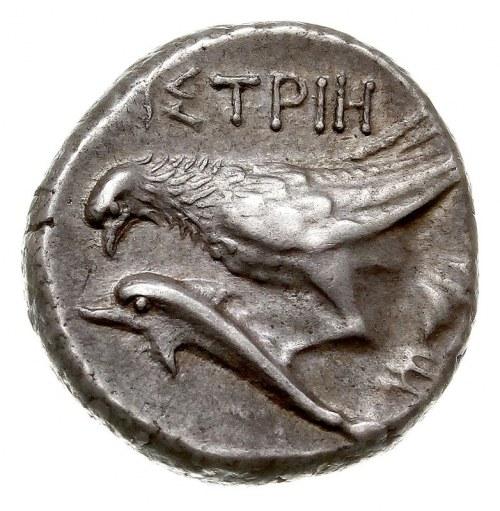 didrachma, IV w. pne, Aw: Dwie głowy młodzieńców obróco...