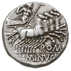 denar, Rzym, Aw: Głowa Romy w hełmie w prawo, Rw: Jowis...