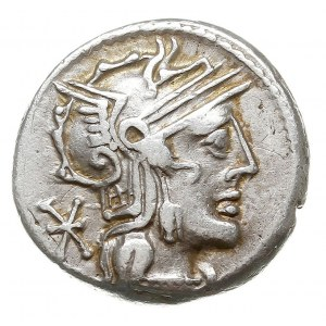 denar, Rzym, Aw: Głowa Romy w hełmie w prawo, Rw: Jeźdz...