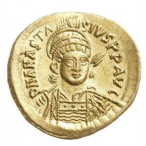 solidus 492-507, Konstantynopol, Aw: Popiersie cesarza ...