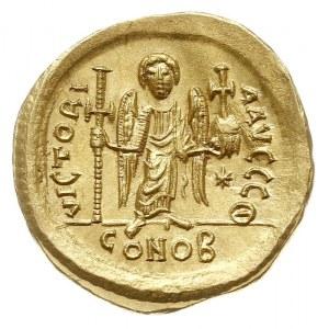 solidus, 527-537, Konstantynopol, Aw: Popiersie cesarza...