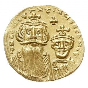 solidus 654-659, Konstantynopol, Aw: Popiersia cesarzy ...
