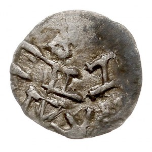 pieniądz z lat 1382-1392, Aw: W obwódce litera H lub N,...