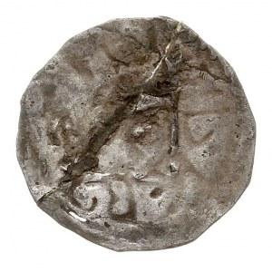 pieniądz z lat 1382-1387, mennica Bełz, Aw: Wokół krzyż...