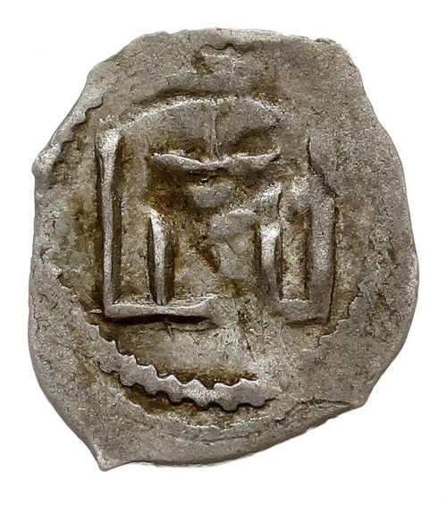 denar 1413-1430, Aw: Kolumny Gedymina, Rw: Grot włóczni...