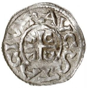 denar, Aw: Popiersie króla w prawo, KVONR REX, Rw: Krzy...