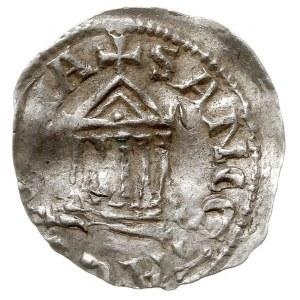 denar, Aw: Krzyż, w polach PI-LI-GR-IM, Rw: Świątynia, ...