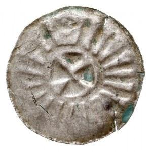 denar krzyżowy, po 965 r, Aw: Bez śladow stempla, Rw: K...