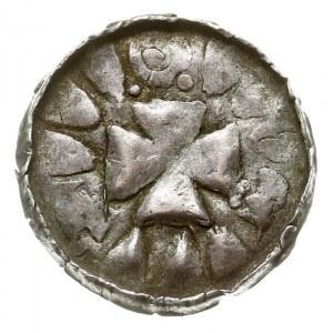denar krzyżowy, po 965 r, Aw: Ślady pierścienia i promi...