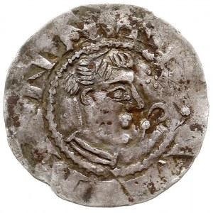 denar, Aw: Głowa biskupa w prawo, HERIMANN, Rw: Świątyn...