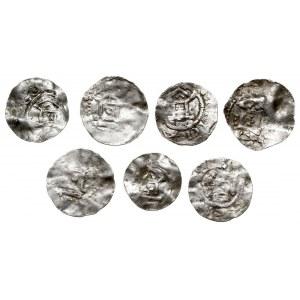 Frankonia, Otto III, zestaw denarów typu OAP, razem 7 s...