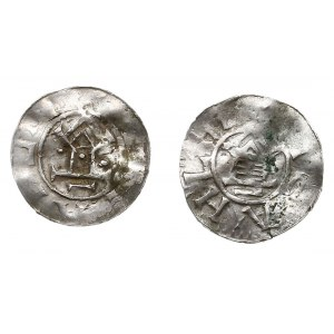 Saksonia, Otto III, zestaw denarów typu OAP, razem 2 sz...