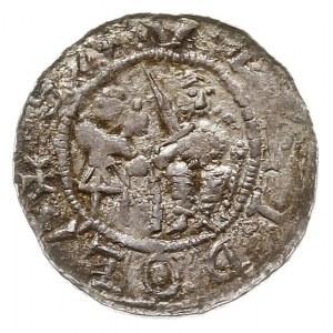denar, Aw: Książę na tronie, obok giermek, Rw: Rycerz w...