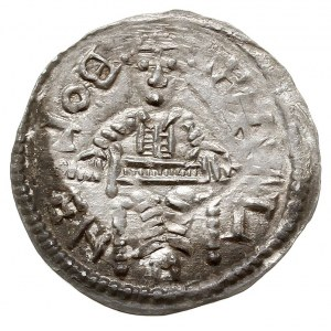 denar, 1146-1157, Aw: Książę z mieczem na tronie, BOLEZ...