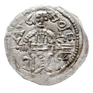 denar, 1146-1157, Aw: Książęz mieczem na tronie, BOLEZ...