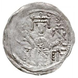 denar, 1157-1173, Aw: Książę siedzący na tronie na wpro...