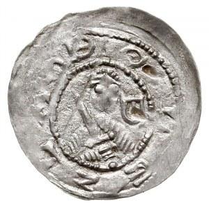 denar, 1157-1166, Aw: Popiersie z mieczem, Rw: Trzej ks...