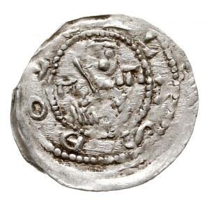 denar, 1157-1173, Aw: Popiersie z mieczem, Rw: Trzej ks...