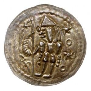brakteat, Rycerz z chorągwią stojący w lewo, po lewej n...