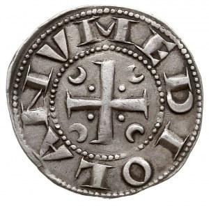 grosz (ambrosino), Aw: Krzyż krokwiowy, w polu półksięż...