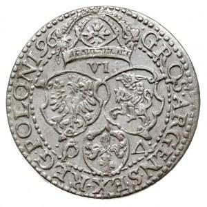 szóstak 1596, Malbork, odmiana z dużą głową króla, bard...