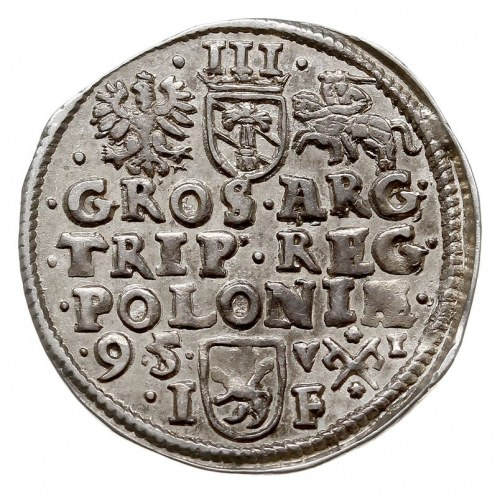 trojak 1595, Poznań, Iger P.95.4.b (R), piękny, delikat...