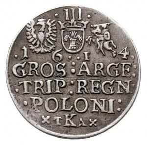 trojak 1614, Kraków, litery TKA, Aw: Popiersie króla w ...