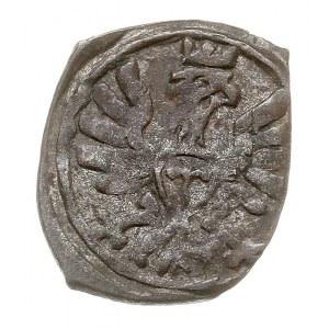 denar 1608, Poznań, T. 7, korona nad herbem wyższa, pat...