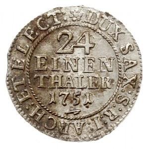 1/24 talara (grosz) 1751, Drezno, Kahnt 580, bardzo ład...