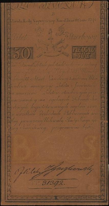 50 złotych polskich 8.06.1794, seria B 31392, Lucow 30 ...