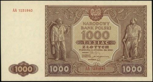 1.000 złotych 15.01.1946, seria AA 7231840, Lucow 1171f...