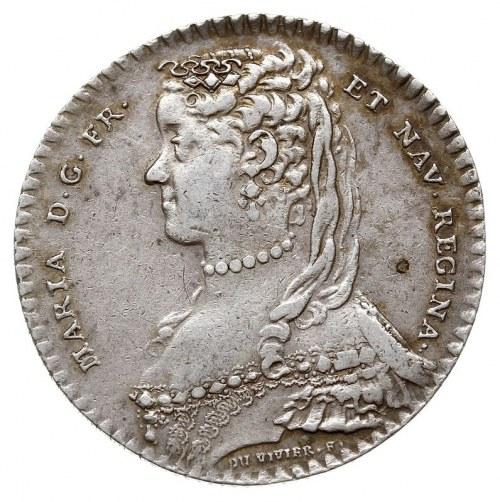 Maria Leszczyńska, królowa Francji, żeton 1748 sygnowan...