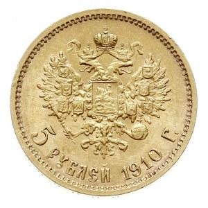5 rubli 1910 ЭБ, Petersburg, złoto 4.30 g, Bitkin 36 (R...