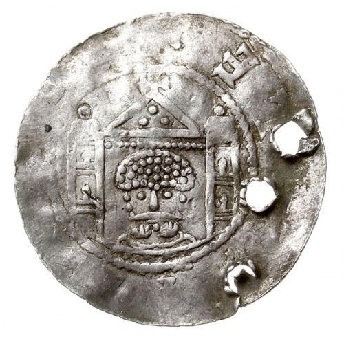 denar 1046-1056, Aw: Popiersie na wprost, Rw: Dwuwieżow...