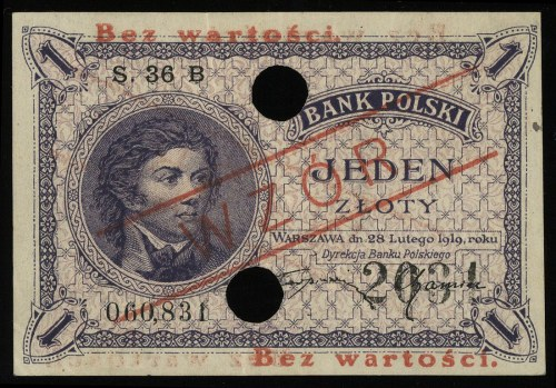 1 złoty 28.02.1919, seria 36 B, numeracja 060831, po ob...