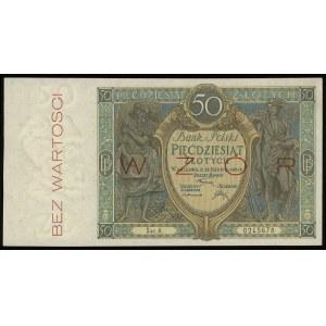 50 złotych 28.08.1925, seria A, numeracja 0245678, po o...