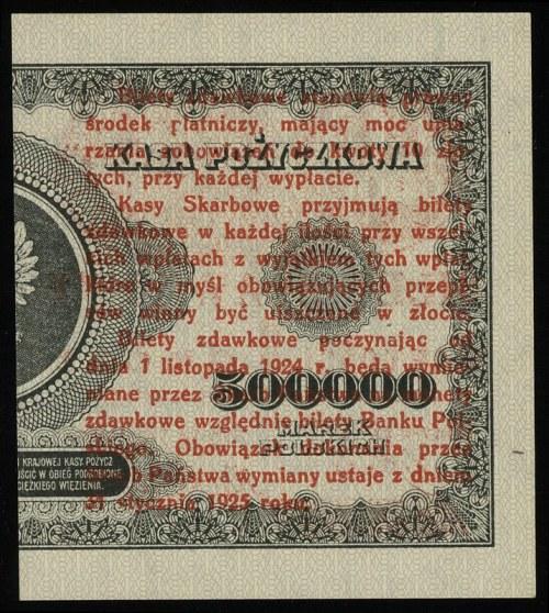 1 grosz 28.04.1924, nadruk na lewej części banknotu 500...