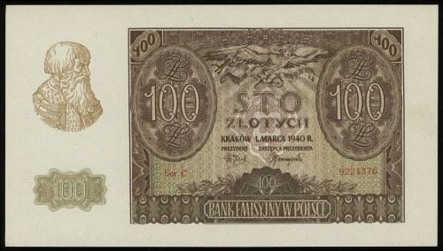 100 złotych 1.03.1940, seria C, numeracja 9224376, Luco...