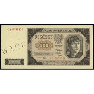 500 złotych 1.07.1948, seria CA, numeracja 0000036, per...