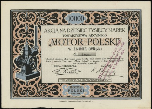 """""""Motor Polski"""" Towarzystwo Akcyjne w Żninie, 1 akcja na..."""
