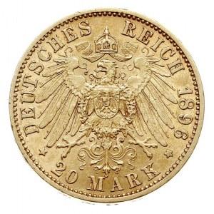 20 marek 1896 A, Berlin, złoto 7.94 g, J. 181, rzadkie