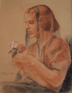 Stanisław Fabijański (1865-1947), Kobieta z różą(1933)
