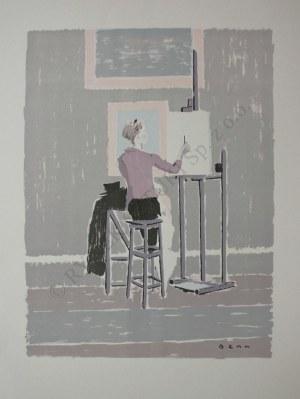 """Bencion Rabinowicz [Benn] (1905-1989), Kopista w Luwrze(z teki """"BENN. 14 litographies originales en couleurs"""", 1964)"""