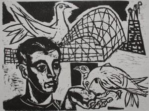 Jonasz Stern (1904-1988), Portret z gołębiami(l.30.XX w.)