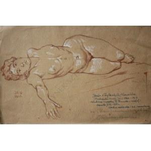 """Marian Wawrzeniecki (1863-1943), Akt - Józefa z Dylewskich Kowalska...(szkic do obrazu """"Stara prawda w księgach leży"""", 1903)"""